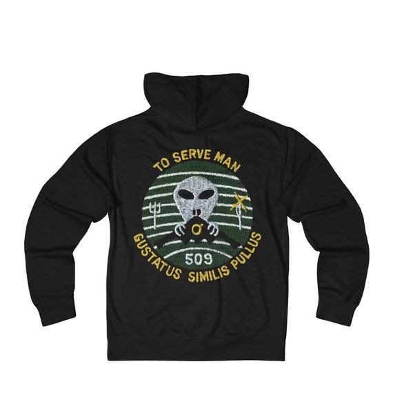To Serve Man, Black French Terry Zip Hoodie, References Vintage Twilight Zone Episode, From Military Patch