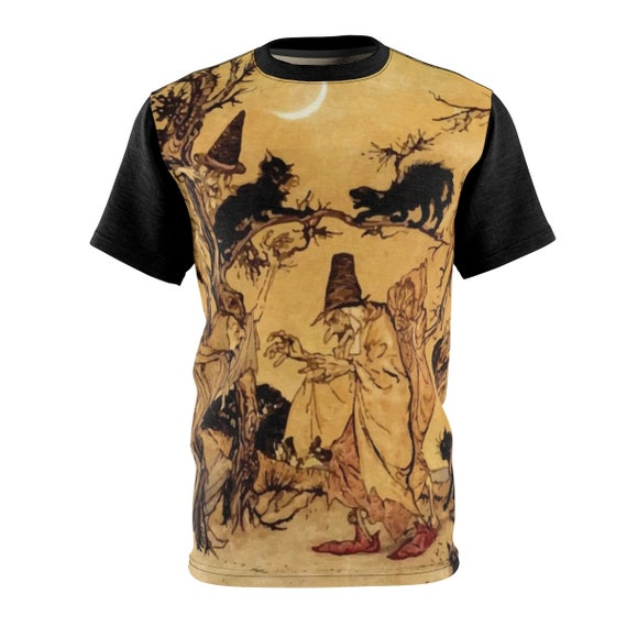 Black Cats & Witches, Unisex T-shirt, Halloween, Vintage Illustration, Arthur Rackham, 1920, AOP, Witchcraft