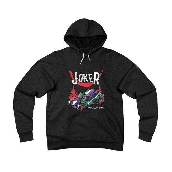 Insane Joker Hot Rod, Black Unisex Sponge Fleece Pullover Hoodie, inspired By 1960s Batman TV Show