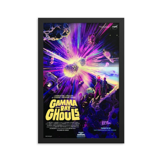 "Gamma Ray Ghouls, 12"" x18"" Framed Giclée Poster, Black Wood Frame, Acrylic Covering, Fake Vintage/Retro Style NASA Movie Poster, Room Decor"