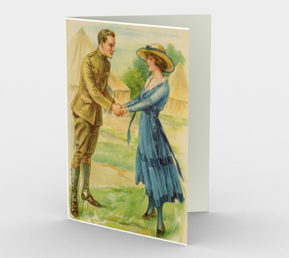 Waiting For You - Stationery Cards (3), With An Image From An Antique Vintage Postcard, Circa 1914.