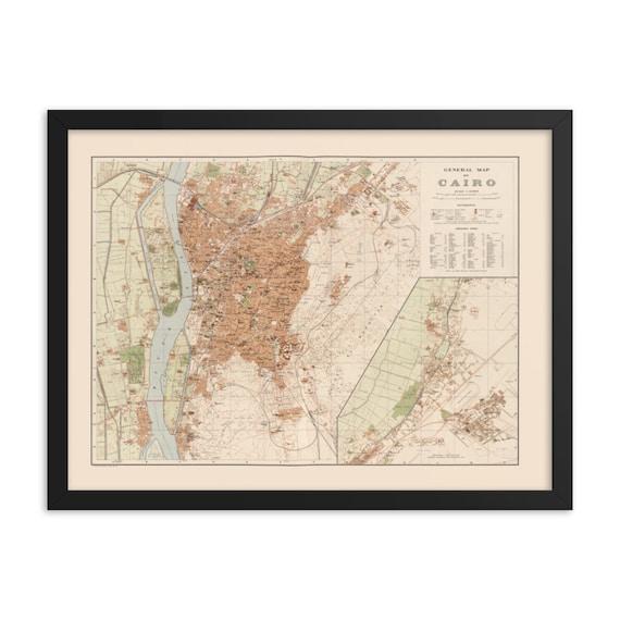"Cairo Egypt 1920 Map, 24"" x 18"" Framed Giclée Poster, Black Wood Frame, Acrylic Covering, Room Decor"