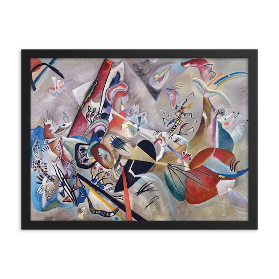 "In Gray, 24"" x 18"" Framed Giclée Poster, Black Wood Frame, Acrylic Covering, Wassily Kandinsky, Abstract, Room Decor"