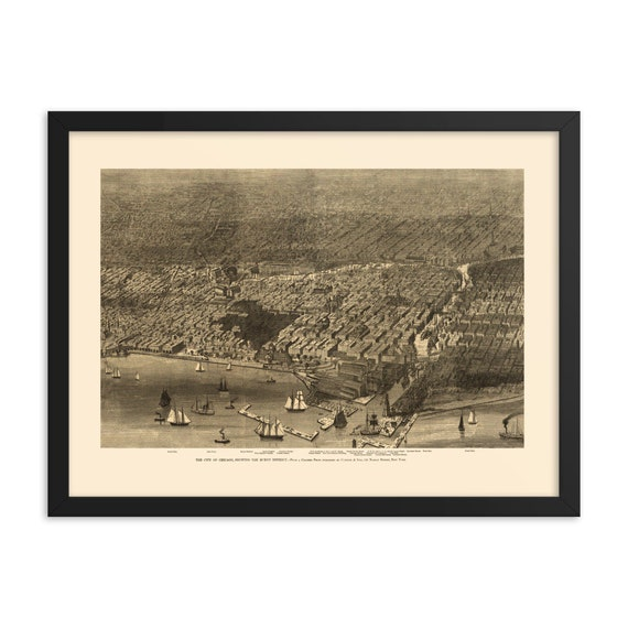 "Aerial Chicago 1874 Map, 24"" x 18"" Framed Poster, Black Wood Frame, Acrylic Covering, Great Chicago Fire Of 1871"