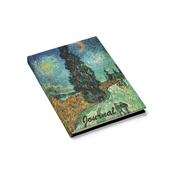 Cypress Against A Starry Sky, Hardcover Journal, Ruled Line, Vintage Painting, Van Gogh 1890