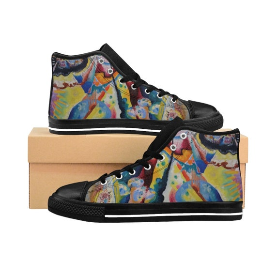 Wassily Kandinsky, Red Chalkboard, Women's High-top Sneakers, Abstract
