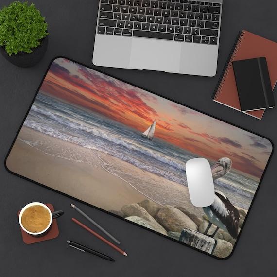 Pelican Sunset Desk Mat, Sailboat, Beach, Ocean