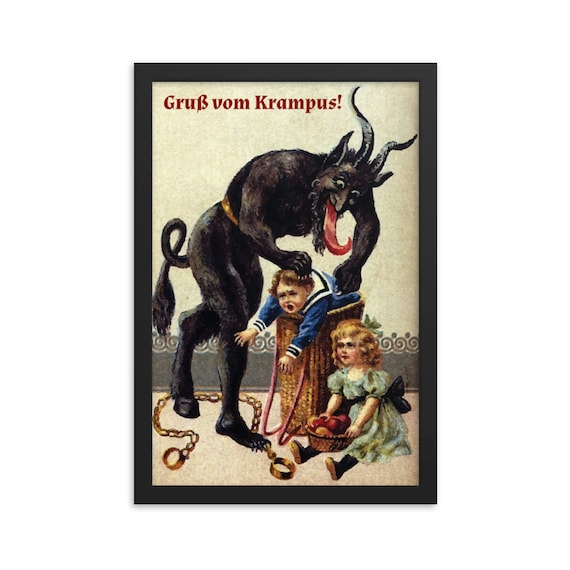 "Gruß vom Krampus, 12""x18"" Framed Giclée Poster, Black Wood Frame, Acrylic Covering, Christmas, Vintage German Postcard, XMAS Gift"