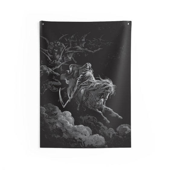 Death Rides The Pale Horse, Indoor Wall Tapestry, Vintage, Antique Illustration, Gustave Dore, 1865