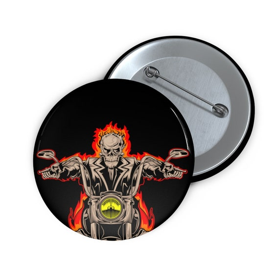 "Hellrider 2"" Pin Button, Flaming Skeleton On Motorcycle"