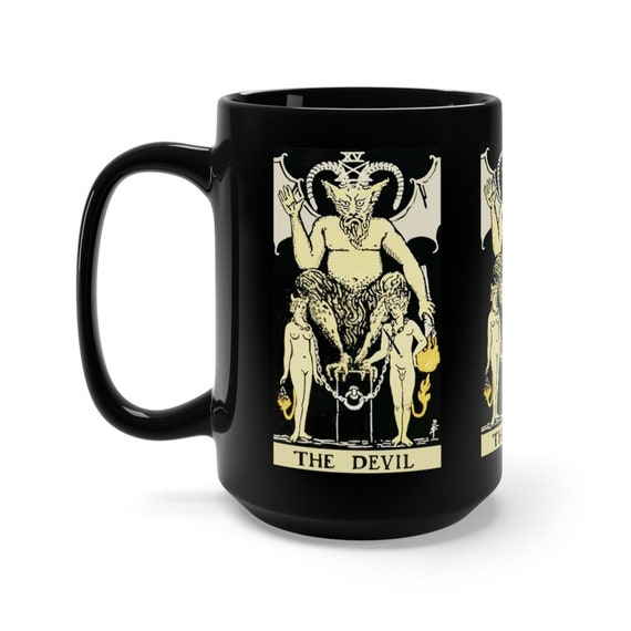 The Devil, Black 15oz Ceramic Mug, Tarot Card, Major Arcana, From Vintage Rider-Waite Deck, Coffee, Tea