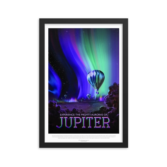 "Solar System: Jupiter, 12"" x18"" Framed Poster, Black Wood Frame, Acrylic Covering, Fake Vintage/Retro Style NASA Travel Poster, Room Decor"
