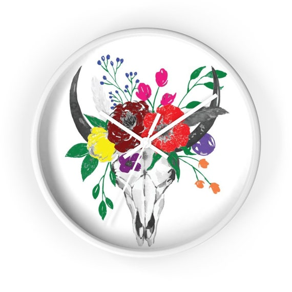 "Skull & Flowers 10"" Wall Clock, Georgia O'Keefe Inspired"