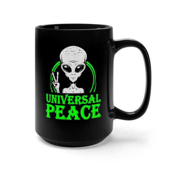 Universal Peace Large Black Ceramic Mug, Gray Alien Peace Sign, Anti-war, Activism, Unity, Coffee, Tea