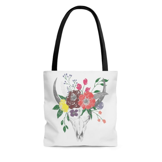 Skull & Flowers, Square Tote Bag, Georgia O'Keefe Inspired