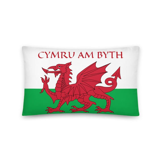 "Cymru Am Byth, 20""x12"" Throw Pillow, Wales Flag, Motto, Welsh Pride"
