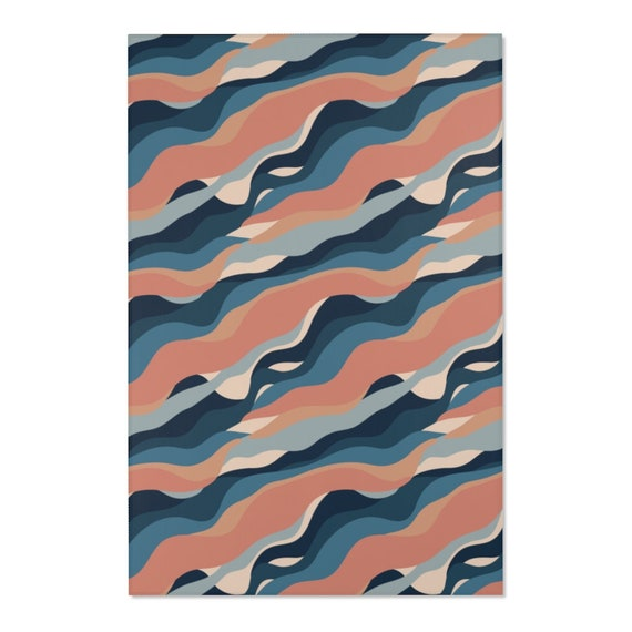 Abstract Waves 4'x6' Area Rug, Mid-century, Vintage, Retro