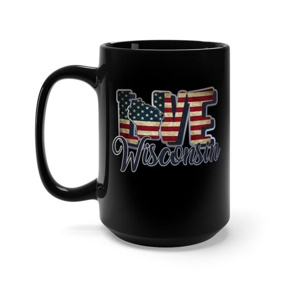 I Love Wisconsin, Large Black Ceramic Mug, Vintage Retro Flag, Patriotic, Patriotism, United States, Coffee, Tea