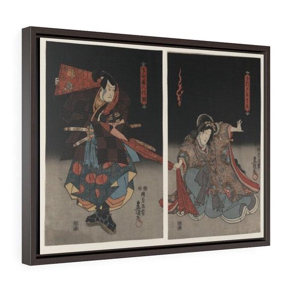 "Kabuki Actors, 24""x18"" Framed Gallery Wrap Canvas, Japanese Woodblock, Utagawa Kunisada, Circa 1847, Room Decor"