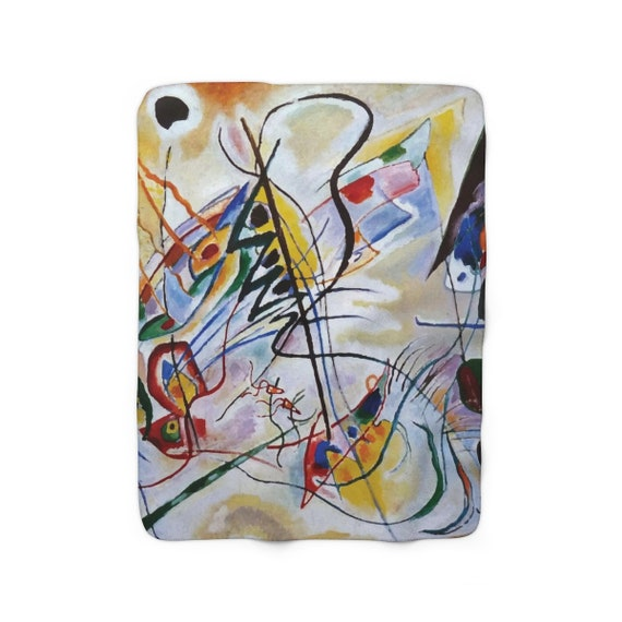 """Violet Wedge, 50""""x60"""" Sherpa Fleece Blanket, Vintage Abstract Painting, Wassily Kandinsky, 1919"""