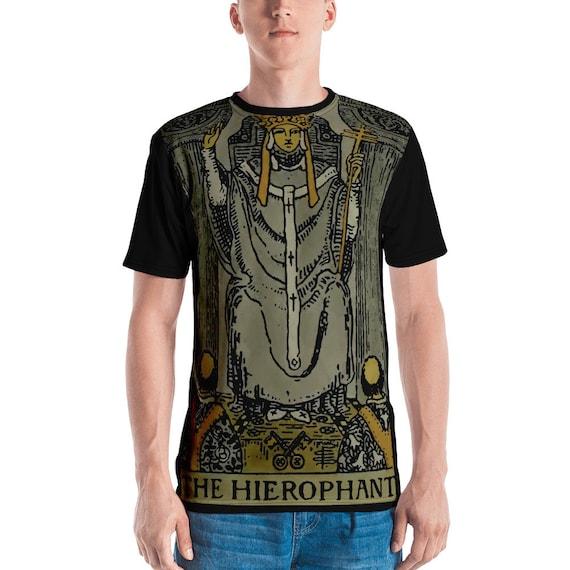 The Hierophant Tarot Card Shirt, Major Arcana, From Vintage Rider-Waite Deck, AOP