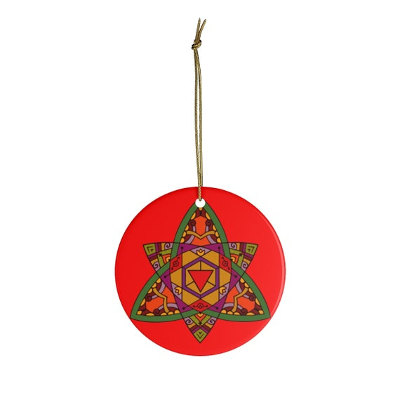 Double Trinity Mandala, Round Christmas Ceramic Ornament, Vintage Inspired Image