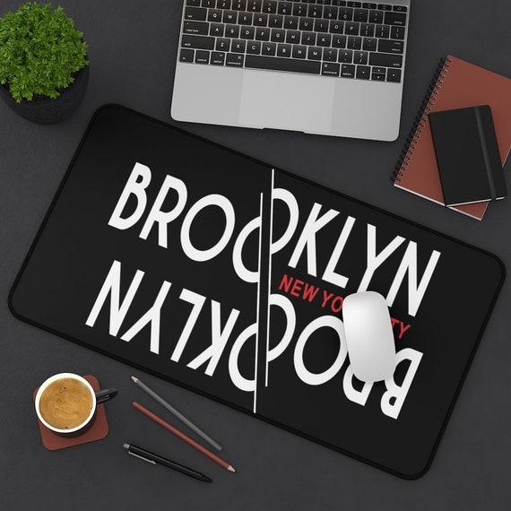 Upside Down Brooklyn New York City Desk Mat, Vintage Retro Style Design, Brooklyn Pride