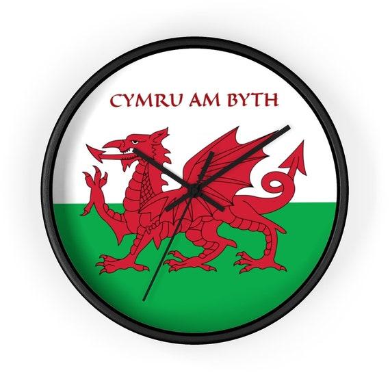 "Cymru Am Byth, 10"" Black Wall Clock, Red Dragon, Flag Of Wales, Welsh Motto, Welsh Pride"