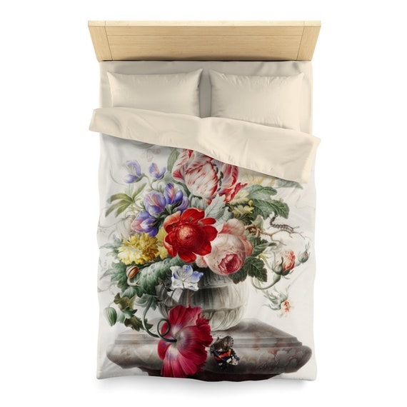 Flowers In A Vase On A Pedestal Twin Duvet Cover, Early 18th Century Still Life