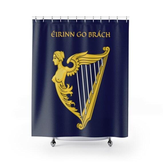 Eirinn Go Brach, Shower Curtain, Ireland, Blue Harp Flag, Coat Of Arms, Irish Pride