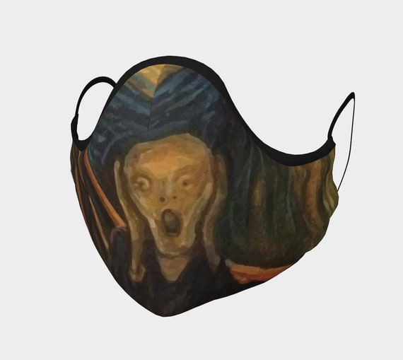 The Scream, Face Mask, 7 Sizes, Filter Pocket, Filters, 100% Cotton, Edvard Munch