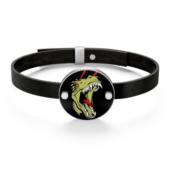 T-Rex Laser Eyes, Sterling Silver Leather Bracelet, Retro Geeky Illustration