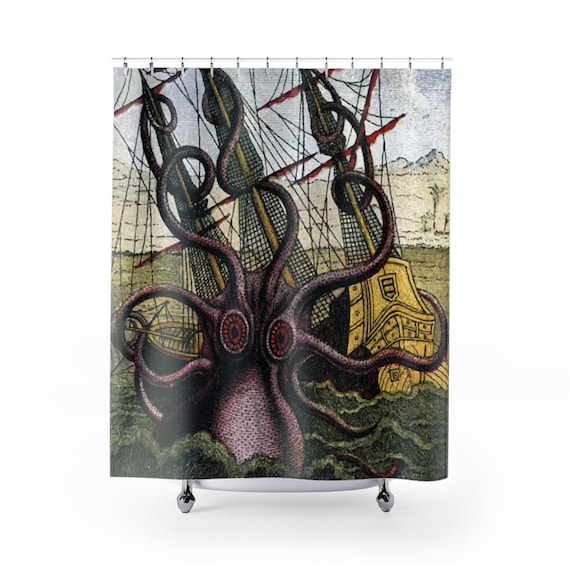 Kraken Attacks Ship v2, Polyester Shower Curtain, Vintage, Antique Illustration, Pierre Denys de Montfort, 1801