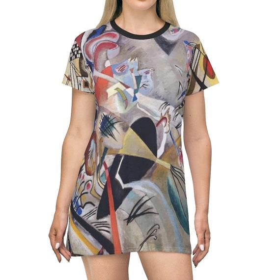 In Grey, T-shirt Dress, Long Flared Top, Long T-shirt, Comfy Sleep Shirt, Abstract Painting, Wassily Kandinsky, AOP