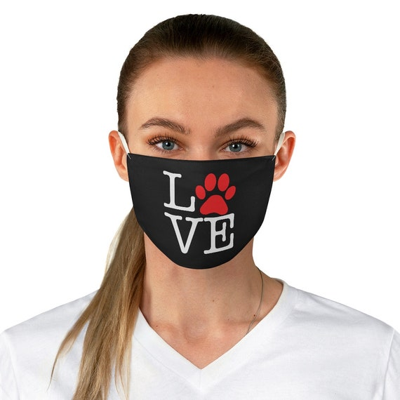 Love Paw Print Black Cloth Face Mask, Washable, Reusable, I Love Dogs, I Heart Dogs