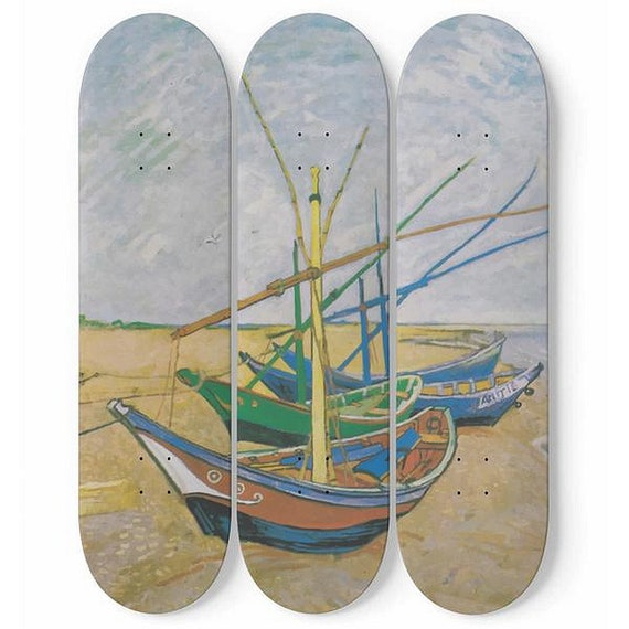 Fishing Boats On The Beach, Skateboard Wall Art, 3 Maple Decks/Boards, Vintage, Antique Painting, Vincent Van Gogh, 1888