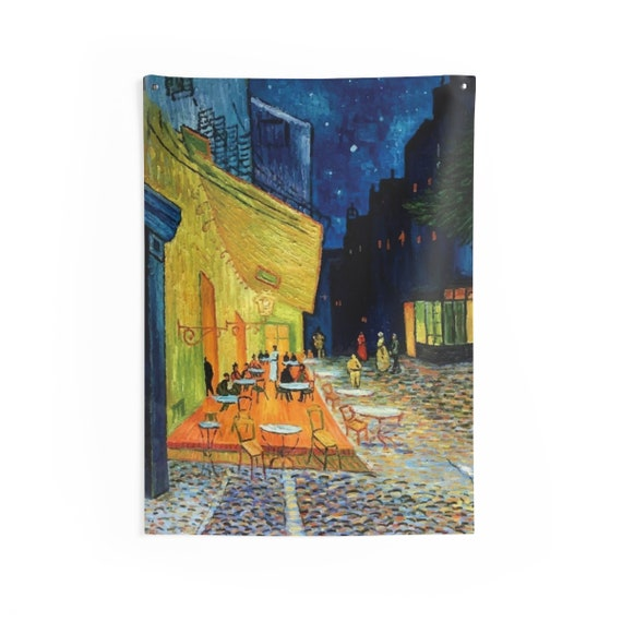 Cafe Terrace At Night, Indoor Wall Tapestry, Vintage, Antique Painting, Vincent Van Gogh, 1888, Wall Decor, Room Decor