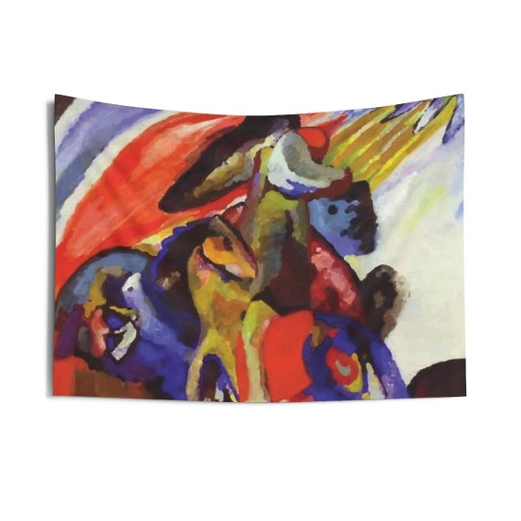 Rider 12, Indoor Wall Tapestry, Vintage Abstract Painting, Wassily Kandinsky, 1910