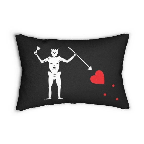 Blackbeard's Pirate Flag Lumbar Pillow, Historical, Jolly Roger