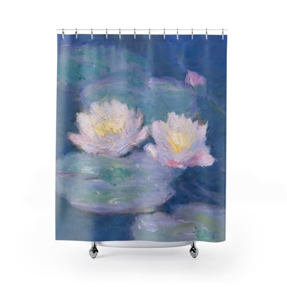 Water Lilies, Polyester Shower Curtain, Vintage Painting, Monet,Circa 1880