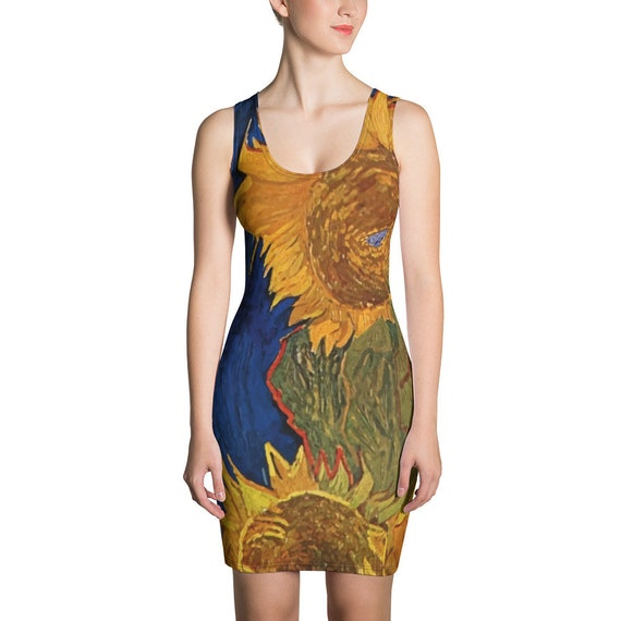 Six Sunflowers, Fitted Dress, Vintage Painting, Van Gogh 1888