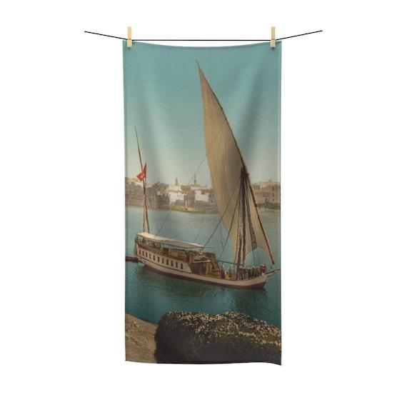 Nile Sailboat Near Cairo Egypt, Bath Towel, From An Antique/Vintage Victorian Postcard