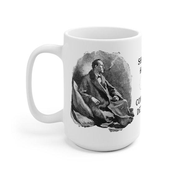 Sherlock Holmes Large White Ceramic Mug, Consulting Detective, Arthur Conan Doyle, Coffee, Tea