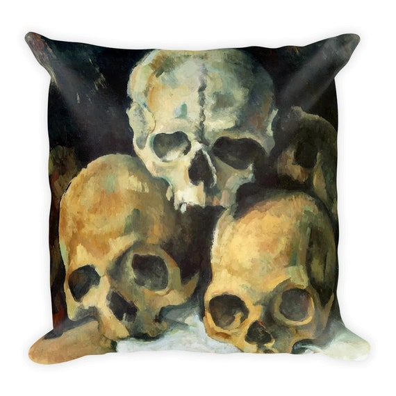 "Pyramid Of Skulls, 18"" Square Pillow, Vintage, Antique Painting, Paul Cezanne, 1900"
