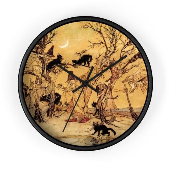 "Black Cats & Witches, 10"" Black Wall Clock, Halloween, Vintage Illustration, Arthur Rackham, 1920"