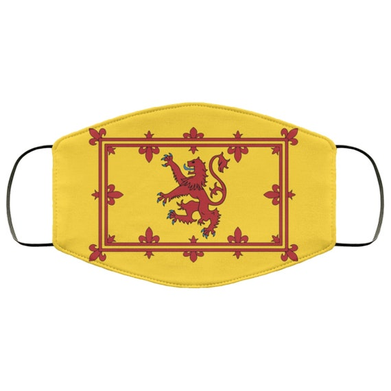 Lion Rampant of Scotland, Large Face Mask, Breathable, Washable, Reusable, Scottish Pride