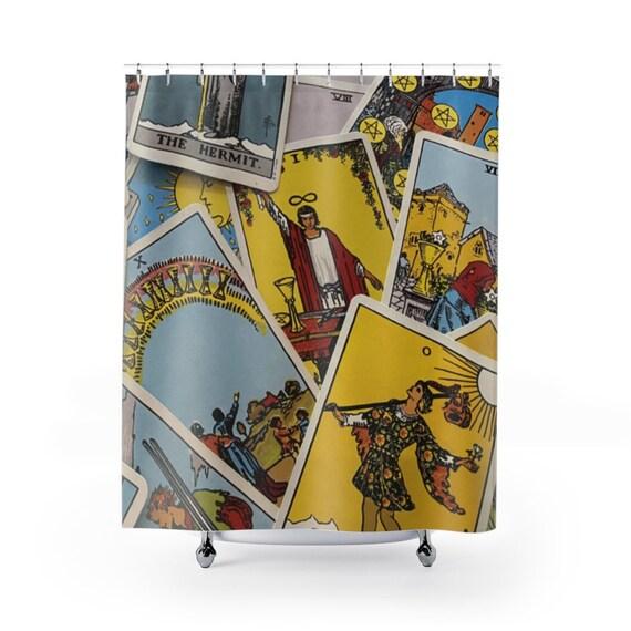 Tarot Card Shower Curtain, Major & Minor Arcana From A Vintage Rider-Waite Deck