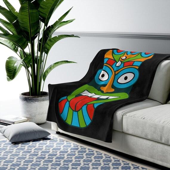 Tiki Mask Black Velveteen Plush Blanket, Retro, Vintage, Polynesia