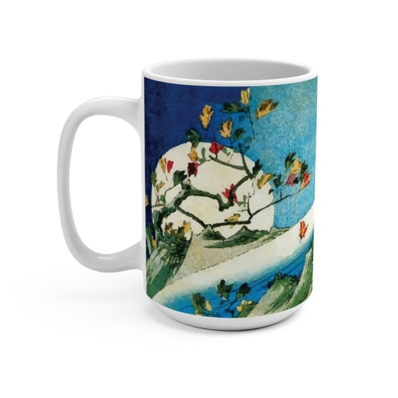 Horizon Moon, 15oz White Ceramic Mug, Vintage Japanese Woodblock Print