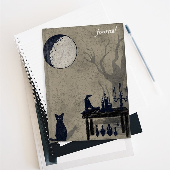 Moon Magick Hardcover Ruled Line Journal, Pagan, Wicca, Witch, Witchcraft, Black Cat, Howling Wolf